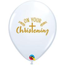 """On Your Christening Cross 11"""" White Latex Balloons 25pk"""