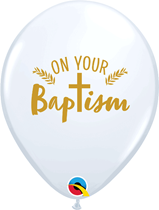"""On Your Baptism 11"""" White Latex Balloons 25pk"""