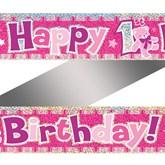 Pink 1st Birthday Teddy Foil Banner