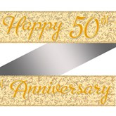 Golden 50th Anniversary Holographic Foil Banner