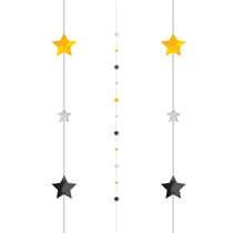 Black Silver Gold Stars Balloon Tail