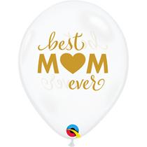 "Mother's Day Best Mum 11"" Diamond Clear Balloons 25pk"