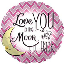 """Pink Love You To The Moon & Back 17"""" Foil Balloon"""