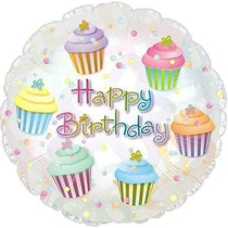 "Happy Birthday Cupcake 17"" Foil Balloon"