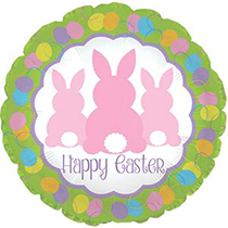 "Easter Pink Bunnies 17"" Foil Balloon"