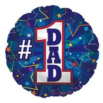 "Blue Number 1 Dad 18"" Foil Balloon"