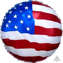 "USA American Flag 18"" Round Foil Balloon"