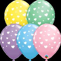 "Pastel Assorted Hearts Print 11"" Latex Balloons 25pk"