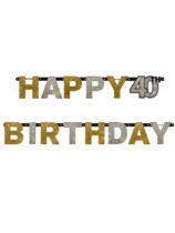 Gold Celebration Happy 40th Birthday Letter Banner