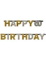 Gold Celebration Happy 60th Birthday Letter Banner