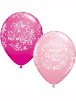 """Happy Mother's Day Floral Damask Pink Assorted 11"""" Latex Balloons 25pk"""