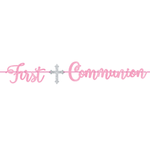 First Communion Pink Glitter Letter Party Banner 3.65M