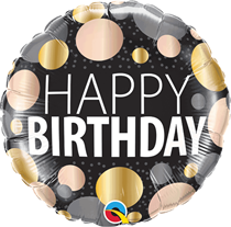 "Happy Birthday Big Metallic Dots 18"" Foil Balloon"