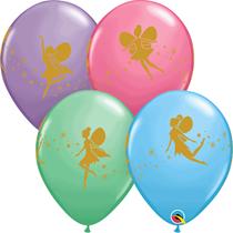 "Asst. Colour Gold Fairies & Sparkle 11"" Latex Balloons 25pk"