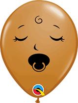 "Mocha Brown Sleeping Baby 5"" Latex Balloons 25pk"