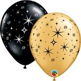 Sparkles and Swirls Black & Gold Latex Balloons 50pk