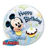 "1st Birthday Baby Mickey Bubble Balloon 22"""