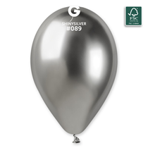 "Gemar Shiny Silver 12"" Latex Balloons 25pk"