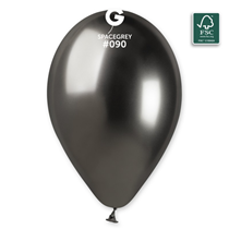 "Gemar Shiny Space Grey 12"" Latex Balloons 50pk"