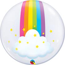 "Rainbow Clouds 24"" Deco Bubble Balloon"