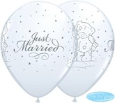 """Tatty Teddy Just Married White 11"""" Latex Balloons 25pk"""