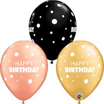 "Gold, Rose Gold & Black Happy Birthday 11"" Latex 25pk"