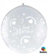 Just Married Hearts 3ft Clear Latex Balloons 2pk (neck-up)
