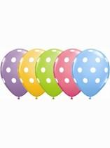 "Assorted Colour Polka Dot 11"" Latex Balloons 25pk"
