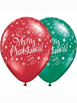 """Ruby Red & Emerald Green Merry Christmas 11"""" Latex Balloons 25pk"""