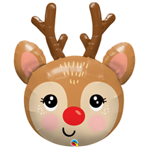 """Christmas Red Nosed Reindeer 35"""" Foil Balloon Loose"""