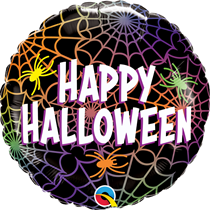 """Halloween Colourful Spiders & Webs 18"""" Foil Balloon"""
