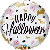 """Halloween Pink Gold Bats Ghosts 18"""" Foil Balloon"""