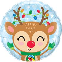 """Christmas Reindeer & Lights 18"""" Foil Balloon"""
