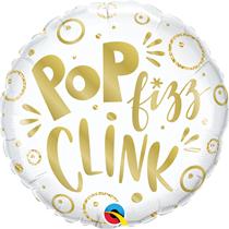 """New Year Pop Fizz Clink 18"""" Foil Balloon"""