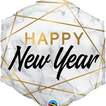 "New Year Marble 20"" Hexagon Foil Balloon"