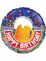 """Happy Birthday Beer Time 18"""" Foil Balloon"""