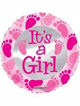 "It's a Girl Footprints 18"" Foil Balloon"