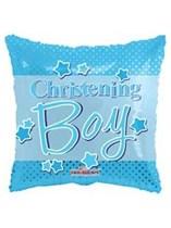 """Blue Polka Dot Christening 18"""" Foil Balloon"""