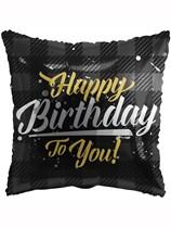 "Happy Birthday Black Tartan 18"" Foil Balloon"