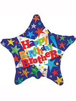 "Happy Birthday Brother 18"" Star Foil Balloon"