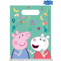 Peppa Pig Plastic Party Loot Bags 6pk