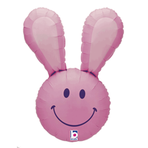 """Smiley Easter Bunny Head 37"""" Pink Foil Balloon"""