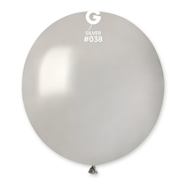 "Gemar Metallic Silver 19"" Latex Balloons 10pk"