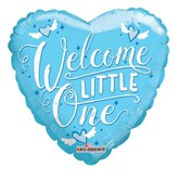"Welcome Little One Blue 18"" Heart Foil"