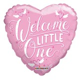 """Welcome Little One 18"""" Pink Heart Foil"""