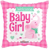 """Baby Girl Pink Elephant 18"""" Square Foil Balloon"""