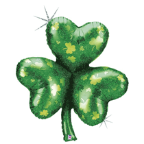 """St Patrick's Day Shamrock Holographic 35"""" Foil Balloon"""