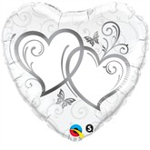 """Silver Entwined Hearts Foil Balloon 18"""""""