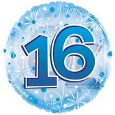 """16th Birthday Blue 24"""" Clearview Balloon"""