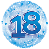"""18th Birthday Blue 24"""" Clearview Balloon"""